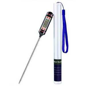 Küchenthermometer Einstichthermometer Haushaltsthermometer Edelstahl BBQ Schw