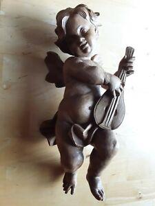 Großer Engel mit Laute aus Holz geschnitzt Holzengel