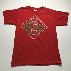 Tabasco Adult Red Green Short Sleeves Crew Neck T Shirt L Large Logo Spell Out