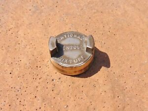 NATIONAL BENZOLE MIXTURE Vintage Brass 2 Gallon Petrol Fuel Jerry Can Cap Lid