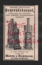 ALTONA-HAMBURG, Werbung 1898, Menck & Hambrock Querrohrkessel
