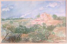 XXe signée Isa Célini daté 1992 Paysage Aquarelle sur Papier Watercolor Painting