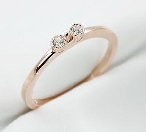 Women Rose Gold CZ Bowtie Ring, 925 Sterling Silver Stacking Ring,Thin Ring