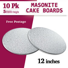 "Masonite Cake Board Silver 10 PK 12"" Inches Round - 5mm Thickness"