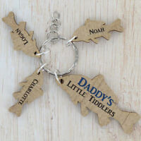 Daddy's Little Tiddlers Keyring Gifts Dad Grandad Daddy Fishing Christmas Gift