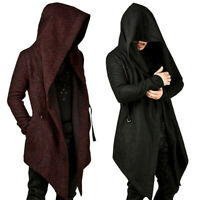 Medieval Gothic Men Hooded Cardigan Sweatshirt Irregular Coat Cape Cloak Costume