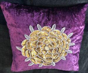 Cushion Cover Handmade Embroidered Beads Pearls In Velvet 40X40 Cm