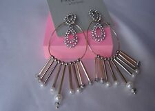 Topshop Freedom Gold Tone Diamante Earrings Hoops Cost £16.50 NEW