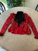 Weissman Girls Red Sequin Fancy Jacket Dance Costume Size LC Large Child