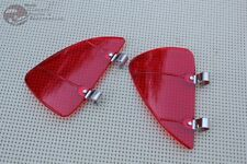 Hot Rat Street Rod Cruiser Red Plastic Outside Vent Window Air Wind Deflectors