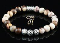 Zebra Jaspis braun beige Armband Bracelet Perlenarmband Silber Beads 8mm