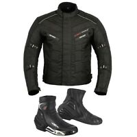 Men Motorbike Boot Waterproof Motorcycle Cordura Textile Jacket Coat CE Armours