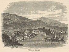 C8362 Messina - Lipari - Panorama - Stampa antica - 1892 Engraving