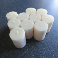 "(10 PACK) Crate & Barrel 3""X4"" Ivory Pillar Unscented Paraffin Candles 46 Hours"