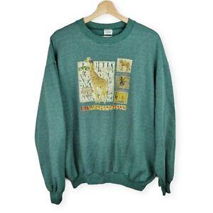 Vintage Zoo Animals Sweatshirt Men's Large Green Striped Long Sleeve