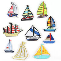 DIY Badge Patch Embroidered Boat Sew Iron On Patches Badge Fabric Applique New