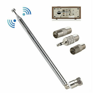 F Typ Teleskopantenne 75 Ohm mit TV / 3.5 Adapter Wave Radio FM