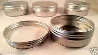 10*Empty Cosmetic Pot Tin Silver Container 2oz Screw lid Jar EPE inserts