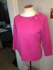 Ann Taylor Magenta Pink Cashmere Scooped Neck Classic Sweater M Medium Nice!