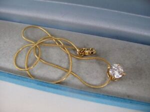 """Vintage 9ct GOLD Plated Simulated DIAMOND Pendant 16"""" Snake Chain Necklace 5.3g"""