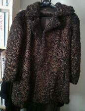 Brown Black Marbled Persian Lamb Real Fur Women Size M Coat Jacket