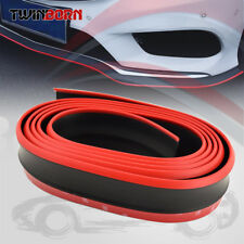 "Universal 98"" Black Red Bumper Lip Splitter Chin Spoiler Side Body Kit Trim"
