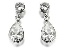F.Hinds Womens Jewellery 9Ct White Gold Double Cubic Zirconia Drop Earrings