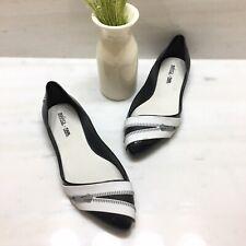 NEW Melissa + Karl Lagerfeld Trippy Zip Ballet Flats In Black & White Size 8