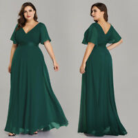Ever-Pretty Plus Long V-neck Bridesmaid Dresses Green Evening Party Gowns 09890