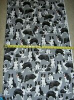 Border Collie Collies Dog Dogs 7365 Gray Multi Timeless Durable Cotton Fabric