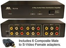 2inx4out Composite RCA S-Video Audio Distribution Amplifier Amp Splitter Switch