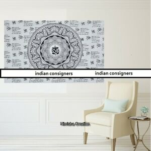 White Color Tapestry Small Wall Hanging Lord Ganesh Design Poster Wonderful Art
