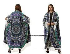 Mandala Elephant Jacket Cotton Cardigan Indian Long Top Kimono Beach Cover Up