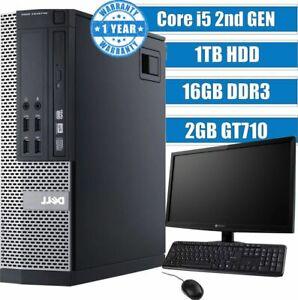 Fast Gaming PC DELL Computer Quad Core i5 16GB 1TB Win 10 2GB GT710