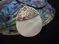 VINTAGE PEARL MOP SHELL PENDANT on NEOPRENE NECKLACE with STERLING SILVER CLASP