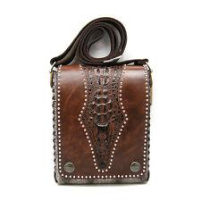 NWT Brown Leather Unisex Biker/Skull/Gothic shoulder bag-handbag Crocodile