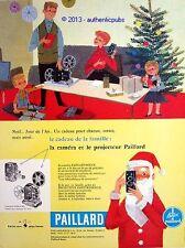 PUBLICITE PAILLARD CAMERA PROJECTEUR BOLEX M8 PERE NOEL SIGNE CAMPS DE 1957 AD