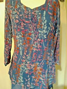 Adini crushed polygeorgette tunic fully lined sweetheart neck 3/4 sleeves