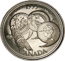 1999 January CANADA 25 Cent  Millennium Series BU Coin From Mint Roll UNC