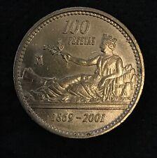 Moneda 100 pesetas año 2001, última antes entrada euro