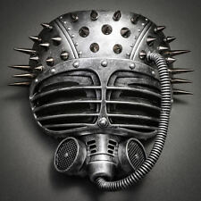 Metallic Steampunk Spike Gas Mask Full Face Masquerade Submarine - Silver