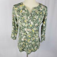 New Karen Scott womens top size PL green yellow floral split neck 3/4 sleeves