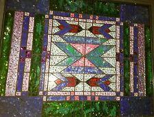 Framed Geometric Stained Glass Mosaic On Mirror Robert A Wynne / Dean's La Jolla