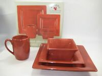 Tabletops Espana Lifestyle 4 Pc Square Dinner Salad Plates Bowl Cup Red Brick