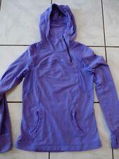 LuLuLemon Hoodie Athletic Jacket Purple Pony tail hole Size Medium 4 EUC A225