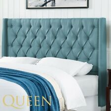 Queen Wingback Headboard Upholstered Tufted Bed Blue Green Sea Bedroom Furniture