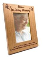 Mum In Loving Memory Remembrance Engraved Portrait Wooden Photo Frame Gift FW399