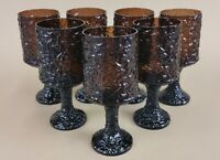 "lenox impromptu brown water goblets vintage usa hand blown 6 7/8"" (set of 7)"