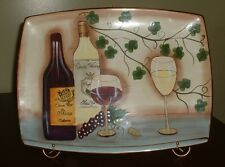 Ceramic Hand Painted Party Platter/ With It's Own Stand