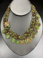 "Vintage Chicos Green Glass Multi Strand Beaded 16"" Bohemian Coin Necklace"